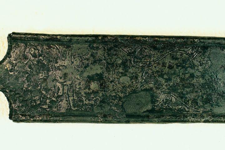vésett díszű kelta kardhüvely, Halimba, Kr. e. 3. század